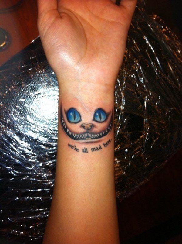 gato de alicia en el pais de las maravillas tatto