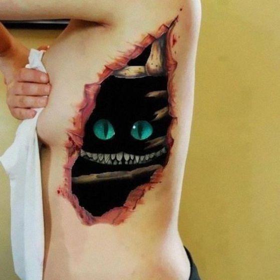 tatuaje en 3d alicia gato