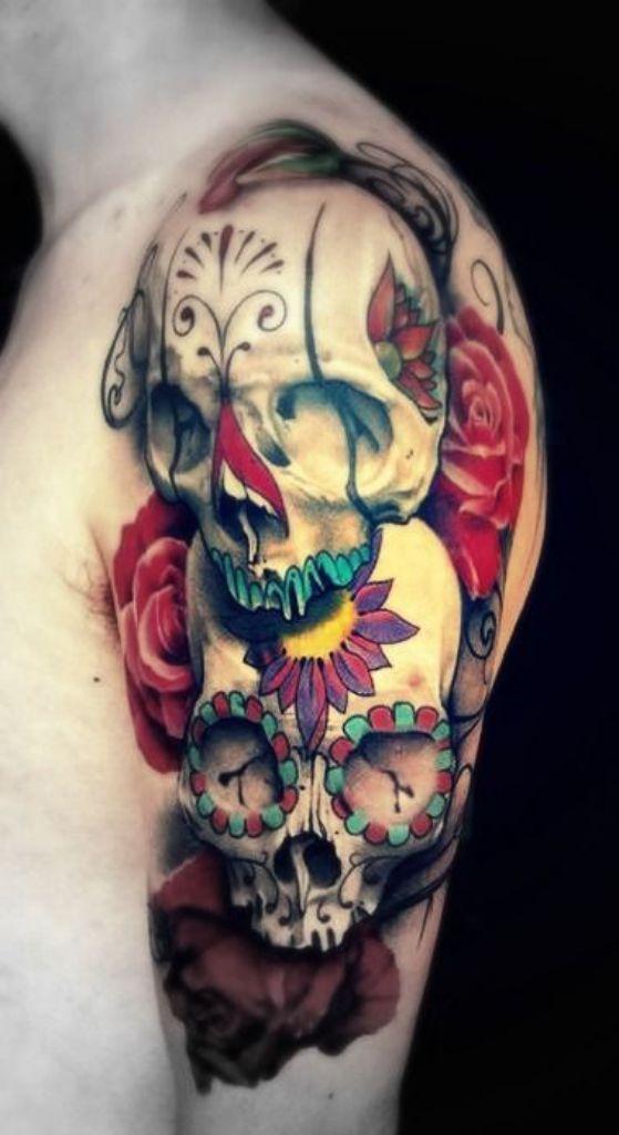 calaveras con rosas tatuaje